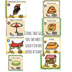 Neko atsume objects that get you lots of gold fish