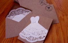 bridal shower invitations diy ideas | bridal shower invites made of doilies and cardstock