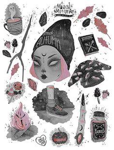 art, magic, and witch Illustrations, Art And Illustration, Desenho Tattoo, Dibujos Cute, Witch Art, Arte Horror, Arte Pop, Creepy Cute, Dark Art