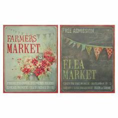 "Market-themed linen canvas print.   Product: 2-Piece canvas print setConstruction Material: Wood and linen canvasDimensions: 36"" H x 24"" W"