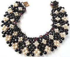 COPPOLA E TOPPO Italy Margarita Flower Black & White Glass Collar Necklace