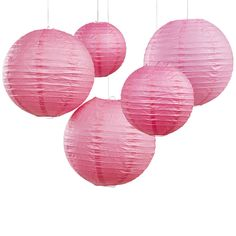 Bright Pink Party And Wedding Paper Hanging Lanterns