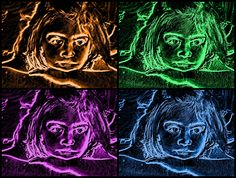 Retrato, editado con el programa GIMP. Se utilizo la herramienta de colorear, modificando los tonos, saturación y brillo, y también se empleo la herramienta de neón