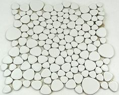 Piastrelle Mosaico Mosaico Piastrelle Bagno WC In Ceramica Classic Kiesel  Tinta Unita Bianco, 5 Mm