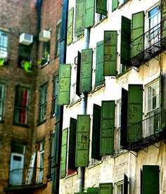 The 'hoods. Green shutters on a building in Soho. credit Caleb Smith. Very cool place. I've had some interesting times. Besides the artists' lofts and funky folk, Soho has the greatest collection of cast-iron architecture in the world.