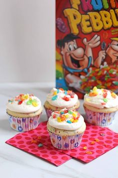 Fruity Pebble Cupcakes with coconut milk & cut down sugar