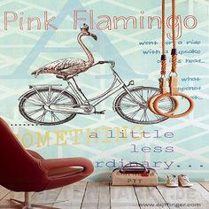 Wandbild PINK FLAMINGO auf mint | Foto , Tür und Bildtapeten Eyecatcher…