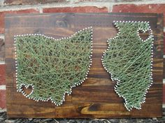 (I think I could diy these) String Art State, Any State, Home is Where the Heart Is, Nail and String Art
