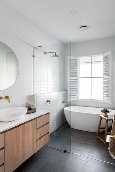 Bathroom Trends, Bathroom Renovations, Modern Bathroom, Small Bathroom, Bathroom Ideas White, The Block Bathroom, Grey Bathroom Floor, Minimalist Bathroom Design, Neutral Bathroom