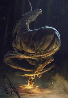 View an image titled 'Ihuarraquax Art' in our Gwent: The Witcher Card Game art gallery featuring official character designs, concept art, and promo pictures. Animal Drawings, Art Drawings, Yuumei Art, Unicorn Art, Unicorn Fantasy, Unicorn Nails, Mythological Creatures, The Witcher, Magical Creatures