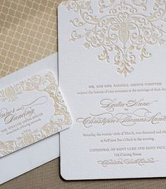 Classic champagne letterpress invitation by The Lettered Olive