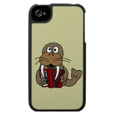 Funny Walrus Playing Accordion Cartoon Case For The iPhone 4 #walrus #accordion #iphone #music And www.zazzle.com/inspirationrocks*