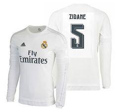 Adidas zinedine zidane real madrid long sleeve home jersey 2015 16 b229fd931