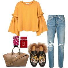 A fashion look from February 2017 featuring bell sleeve blouses, high waisted jeans and gucci loafers. Browse and shop related looks.