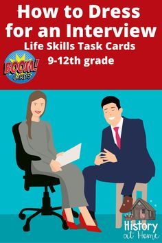 High school students need to learn how to dress appropriately for an interview, and this boom deck covers what to wear and not wear for guys and gals. PLUS, It includes a video - How to dress for an interview for teens. Be sure to check out my Interview Skills Bundle in my store on Boom Learning! #dressforsuccess #lifeskills #homeschool #highschool #jobinterviews #HistoryatHome #distancelearning #boomcards #careerskills #whattowear #taskcards #boomlearning #interviewskills #interview