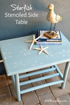 Starfish Stenciled Side Table
