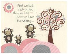 Mono infantil bebé niña mono sala arte vivero de pared