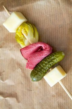 Luck of the Irish Skewers ~ easy gluten-free St. Patrick's Day appetizer with pastrami, cheese, brussels sprouts & little pickles