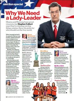 Stephen Colbert featured in 'Glamour Magazine'.
