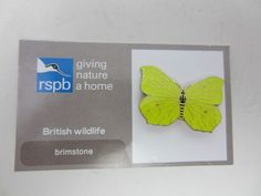 Charity Pin Badge RSPB Giving Nature A Home Brimstone Butterfly Enamel Wildlife