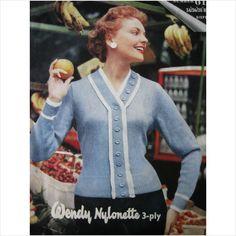 """Vintage wendywear knitting pattern 619 ladies cardigan bust 34 - 38"""""""