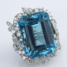64.71 Carat Rectangular Cut Aquamarine, Diamond and Platinum Ring.