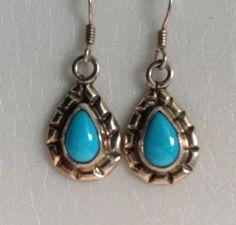 Navajo Sterling Silver Turquoise Teardrop Drop Dangle Earrings  by M Silversmith #MSilversmith