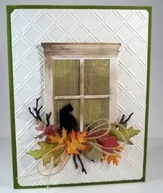 Amazing Handmade Thanksgiving Card Ideas Give thanks for your own handmade Thanksgiving cards! Thanksgiving Cards, Holiday Cards, Memory Box Cards, Window Cards, Cat Cards, Animal Cards, Autumn Theme, Halloween Cards, Creative Cards