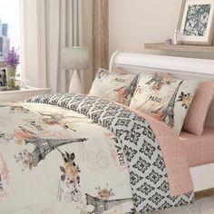 Comforters & Comforter Sets You'll Love in 2021 | Wayfair Paris Room Decor, Paris Rooms, Paris Bedroom, Paris Theme, Chanel Bedroom, Twin Comforter, Bedding Sets, Floral Comforter, Queen Bedding