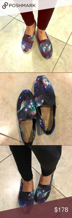 RARE Galaxy Toms! VERY SPECIAL, VERY RARE! A pair of incredibly unique Toms shoes in the Limited Edition Galaxy style! My boyfriend searched high and low for these beauties, but I only wore them one time for a walk, and since slipped out of my galaxy-themed clothing phase. My loss is your gain! The Force is strong with these Toms! TOMS Shoes Flats & Loafers