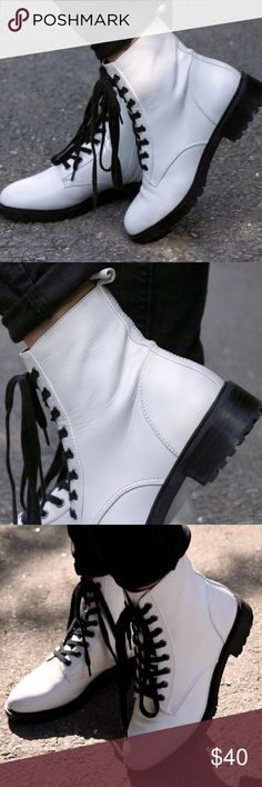 adc8a2162 Brand new white lace up ankle boots Never worn, took off tag for pictures  Shoes