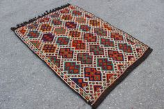 "4x3 feet  geometric rug, Vintage Modern Style for Kids Room Living Room & Office Kilim Rug modern rug  multi color rug 4'3""x3'1"" / 130x96cm"