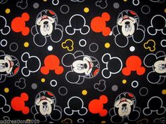 Fat Quarter (18X22) MICKEY MOUSE Cotton Fabric Black Silhouette Head W/ Circles