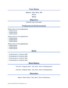 printable job resume