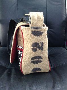 Side of Alabama Crimson Tide burlap purse