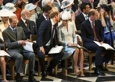 Perhaps Prince Harry had overheard one of his grandfather's famous gaffes, but whatever the joke was the naughty Prince was certainly not keen to share with his brother William