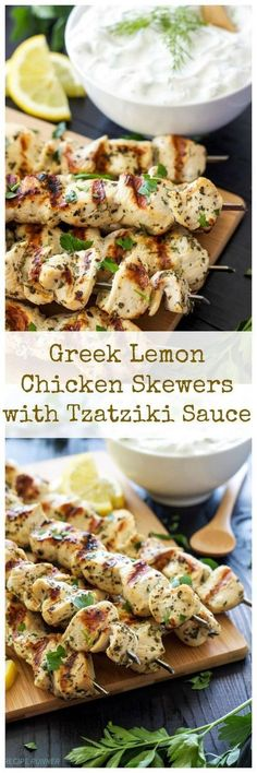Greek Lemon Chicken Skewers with Tzatziki Sauce   Delicious and healthy Greek chicken skewers with a sauce you'll want to slather on everything!
