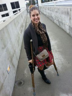 Surgically Chic: Rainy Weather Means Crutches and Boot!