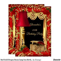 Shop Red Gold Drapes Roses lamp jewel box Birthday Invitation created by Zizzago. Personalize it with photos & text or purchase as is! Diy Birthday Invitations, Bachelorette Party Invitations, Graduation Invitations, Red Birthday Party, Elegant Birthday Party, Birthday Box, Birthday Celebration, Birthday Gifts, Birthday Ideas