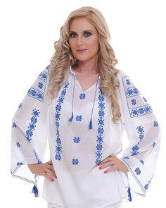 IE TRADITIONALA Motivul Albastrelelor Palestinian Embroidery, Kimono Top, Cross Stitch, Fashion Dresses, Tunic Tops, Katie Holmes, Style Inspiration, Gwyneth Paltrow, T Shirts For Women
