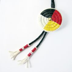Medicine Wheel Quilled Bolo Tie by Lonna Jackson (Spirit Lake Dakota / Turtle Mountain Chippewa).