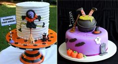 Halloween witch cake tutorial from mycakeschool.com (left) and witch cake from The Cookie Shop (right).