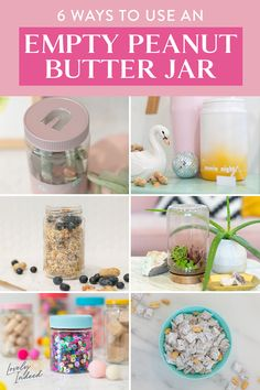 An empty peanut butter jar has endless possibilities! Once you finish the good stuff inside, use one of these ideas or recipes to make use of the jar. Mason Jar Crafts, Bottle Crafts, Cute Crafts, Diy Crafts To Sell, Diy Crafts For Kids, Easy Crafts, Homemade Crafts, Peanut Butter Jar, Pots