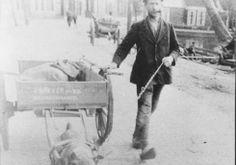 Jurjen Bakker met zijn hondenkar op de Langebuorren te Stiens, eerste helft 20e eeuw.