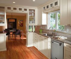 Off White Cabinets In Casual Kitchen By Kitchen Craft Cabinetry Awesome Ideas