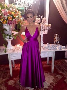 A-Line Deep V-Neck Purple Backless Stretch Satin Prom Dress Cheap Prom Dresses Online, Prom Dresses Under 100, Backless Prom Dresses, Sexy Dresses, Plus Size Dresses, Beautiful Dresses, Dress Online, Red Satin Prom Dress, Royal Blue Prom Dresses