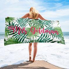 Palm Trees Ocean Nautical Personalized 3 Piece Bath Towel Set Color Choice