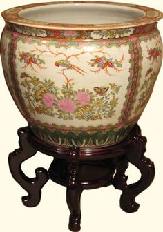 Oriental Furnishings - Chinese porcelain fish bowl planters, rose medallion bird