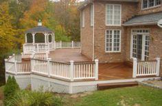 large ipe deck in avon ct ipe decks white vinyl rails king posts