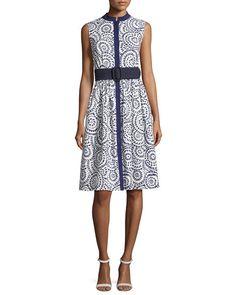 Sleeveless Cotton Eyelet A-Line Dress, Navy/White